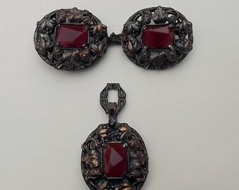Ornate Austro Hungarian Victorian Cloak Cape Clasp Carnelian Jewelry