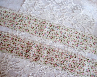 French Inspired Ribbon, Paris Ribbon, Vintage Floral Rose Trim, Floral Ribbon Trim, Vintage Inspired Ribbon, Rose Ticking Trim Ribbon ECS
