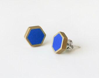 Royal blue hexagon stud earring
