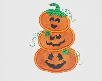 "Embroidered Iron On Applique ""Pumpkin Stack"""