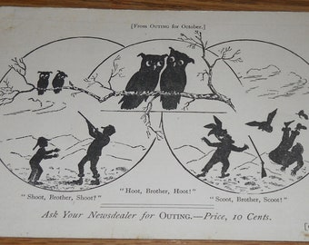 Early 1900's Advertising Postcard~Outing Magazine~Hoot, Brother, Hoot! Owls