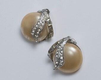 Pearl and Rhinestone Earrings Vintage Winter White Wedding Earrings