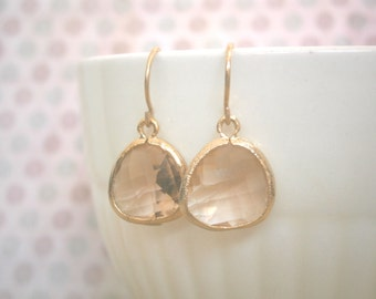 Blush Earrings, Blush Champagne, Gold Earrings, Mother Gift, Best Friend Birthday, Sister Gift