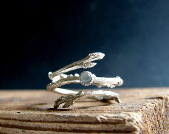 Silver Twig Ring Milky Aquamarine Cabochon Light Blue March Birthstone Gifts for her Botanical Jewelry