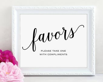 Wedding Favor Sign, Please Take One, Favors Sign, Wedding Favor Printable, Wedding Printable, Wedding Template, PDF Instant Download, MM01-1