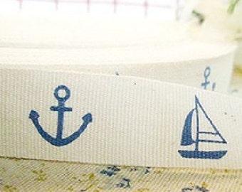 Zakka Blue Nautical Marine Boat Anchor Pants Dress Bag Clothes Handmade Cotton Wide Cloth Fabric Tape Label Ribbon