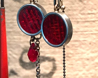 Assymetric Red Reflector Earrings