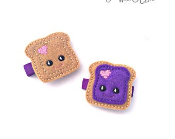 Peanut Butter Jelly, Pigtail Bows, Toddler Hair Clips, Toddler Hair Bows, Toddler Clips, Felt Hair Clips, Felt Hair Bows, Bow Clips