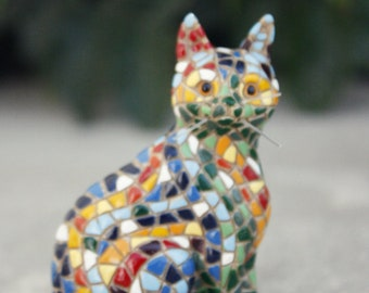 Mosaic Cat Fridge Magnet, Cat Magnet, Handmade Cat, Cat Lover, Refrigerator Magnet, Gata, Handpainted Magnet, Figurine, Miniature Art
