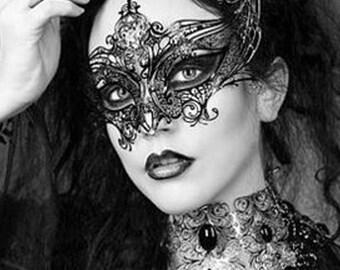 Gothic Empress Black Metal Filigree Mask, Laser Cut Masquerade Ball Mask, Detailed with Clear Swarovski Rhinestones (For Her)