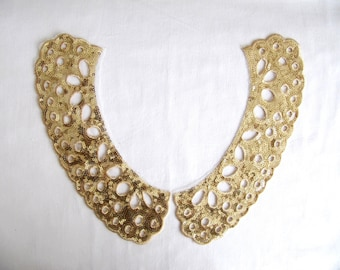 Gozance Gold Lace,Gold Sequin Collar  Appliques,Collar Lace  Patch,Lace Yoke,Gold Sequin Yoke,DIY Craft,Sew On Collar
