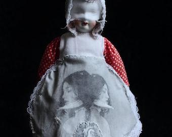 Penny (Print) FREE SHIPPING Still Life Doll Portrait Surreal Photo Girl mask Bones Hearts Lungs Child Black Red Creepy Weird Dark art
