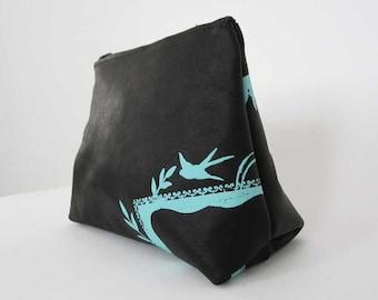 COSMETIC BAG - black leather clutch - small black bag - custom leather clutch - screenprinted handbag - custom accessory - small purse
