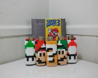 Mario Perler Bead LIGHTER CASE - nintendo - 1up mushroom - shy guy - luigi - toad