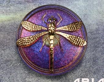 CZECH GLASS BUTTON: 41mm Dragonfly Handpainted Czech Glass Button, Pendant, Cabochon (1)