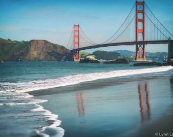 San Francisco Photography - golden gate bridge 11x14 16x20 baker beach photography blue orange 8x10 photo large art 24x36 Golden Mirror