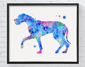 Great Dane Art, Great Dane Print, Watercolor Great Dane, Great Dane Wall Decor, Dog Wall Art, Nursery Art, Kids Room, Girls Room, Dog Print