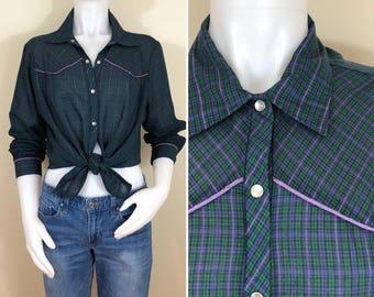 70s Womens Green Purple Plaid Western Shirt Blouse, Size XL