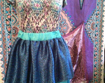 Gathered waist skirt, Blue Sari fabric