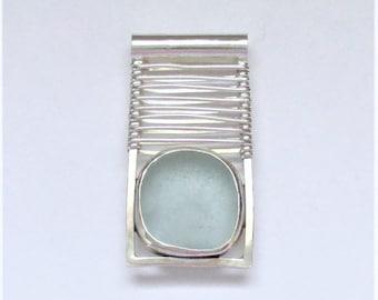 Sea Glass Jewelry - Sterling Weaved Blue Sea Glass Pendant
