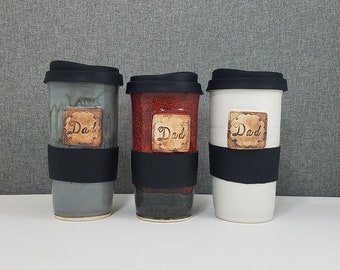 IN STOCK** Ceramic Travel Tumbler / Commuter mug with silicone lid - Fathers Day Mugs - Fathers Day gift