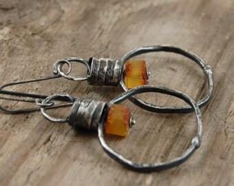 baltic amber earrings,  oxidized silver earrings