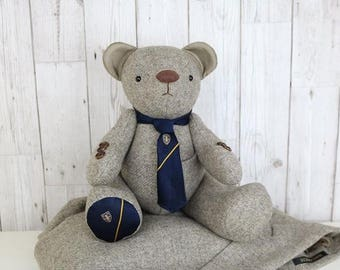 Memory teddy bear pattern posted, teddy bear pattern, keepsake bear pattern. Teddy bear made from clothing, uniform and baby clothes