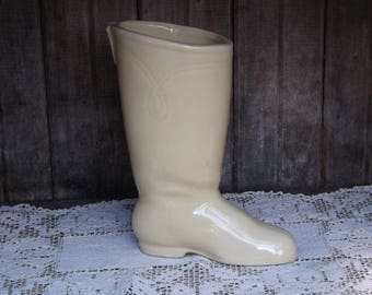 Vintage Boot Planter/Ivory/Planters and Pots/Home and Living/Home and Garden/Mid Century Planter/Indoor Planter/Succulent Planter