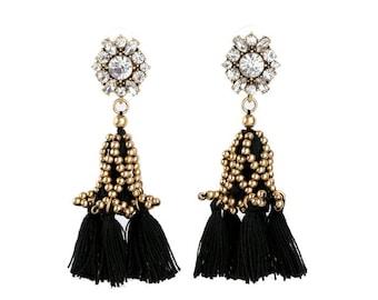 Black Tassel Earrings, Tassel Earrings for Sensitive Ears, Tassel Studs, Gold and Black Tassel Earrings, Gold Tassel, Tassels with Crystals