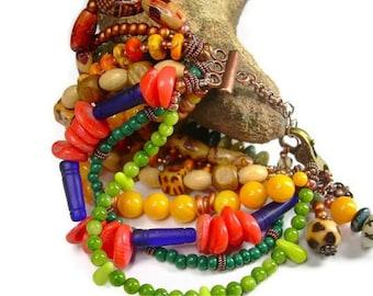 Mixed Bead Boho Copper Fiesta Cuff Bracelet Chez Bead Gypsy With Gemstones & Charms