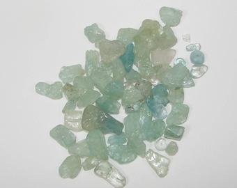 Set of 20 g of aquamarine chips Navy 45 beads. (9791041)