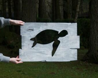 Rustic custom made turtle wood working wall art