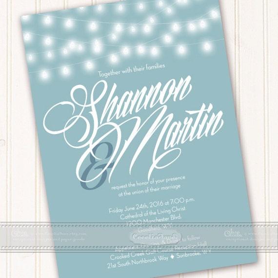 wedding invitations, wedding invitations with rsvp, wedding invitation with string lights, aqua wedding invitation, bridal shower, IN459