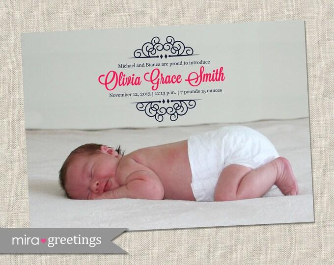 Scrollwork Birth Announcement - Printable Digital File