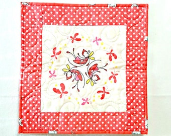 Mini Quilt Wall Hanging Butterflies and Fairies - Pink Girly