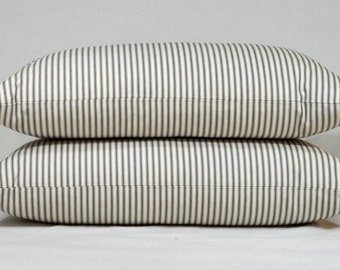 Ticking Pillow Cover, Cottage Decor, Ticking Stripe, Throw Pillow Cover, Decorative Pillow, Cottage Chic