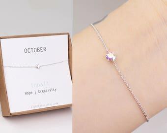 Birthstone bracelet, October birthstone, birthstone jewelry, opal bracelet, best friend gift, sister birthday gift, birthstone gift, silver