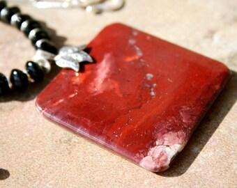 SANPALO Red Creek Jasper, Garnet, Czech Glass, Hilltribe and Sterling Necklace