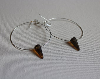 czech glass hoop earrings