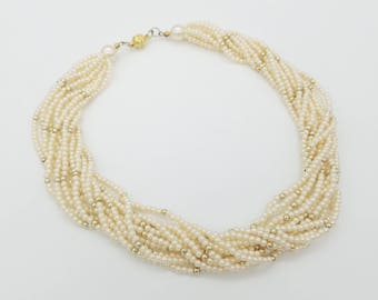 """Vintage Multi-Strand Faux Pearl Choker Necklace - 16"""""""