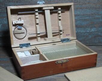 Vintage Microscope Slide Specimen Preparation Kit Wooden Box