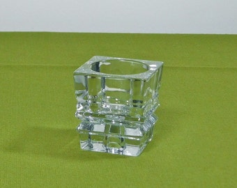Avon Cut Glass Candle Holder Clear Votive Taper Heavy