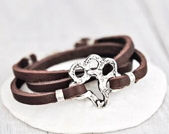 Dog Paw Boho Wrap Bracelet - Paw Bracelet - Leather Wrap Puppy Bracelet - B363