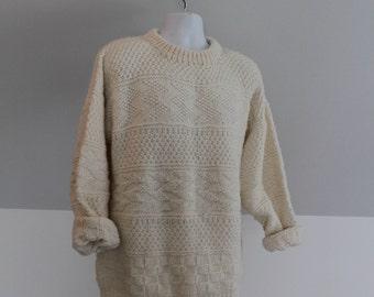 Knit Sweater, Oversized Sweater, Handmade Sweater, Off-white Knitwear, Beige Knitwear, Heavy-knit Sweater