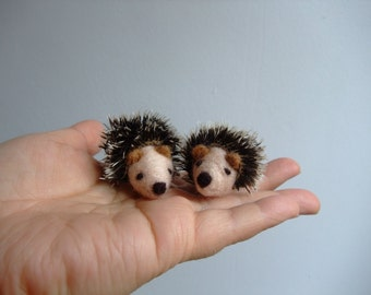 Needle felted a tiny hedgehog for dollhouse or for play