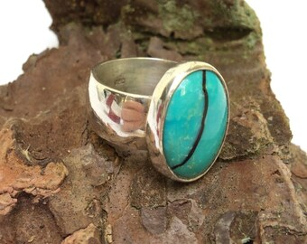 Vintage Oval Turquoise Ring Wide Band Sterling Size 6