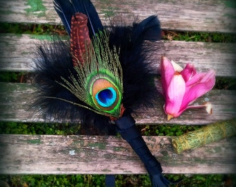Smudge Fan-Pay with PayPal get a free spell in the box! Crow-Raven-Peacock Medicine Black-Made w Crueltyfree, Naturally dropped Feather
