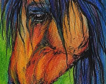 Bucht Pferd Pferde Kunst, Pferd Porträt, Stift und Aquarell Bleistifte original-Gemälde