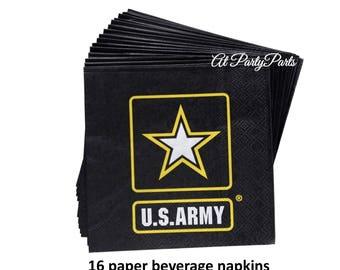 US Army beverage napkins, military wedding decorations, boot camp graduation, officers retirement, veterans reunion, star, fundraiser, logo
