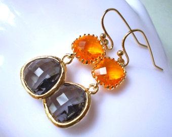 Sun and Charcoal Earrings - long drop earrings in gold - modern sunset orange grey black diamond glass earrings elegant faceted fancy women